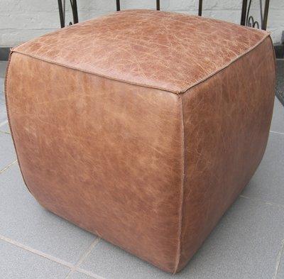 Poef Kubus Bombé Vintage Leder